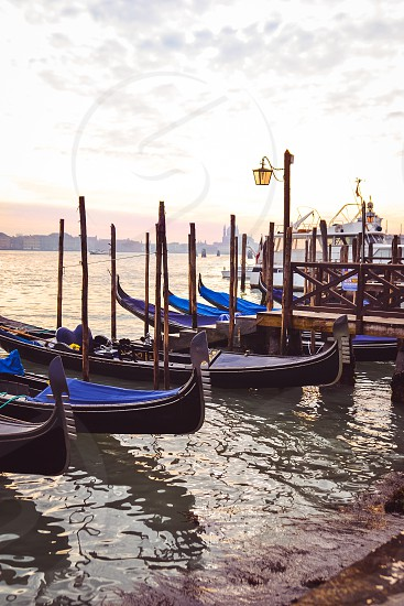 Venice Italy gondola boat water travel Europe  photo