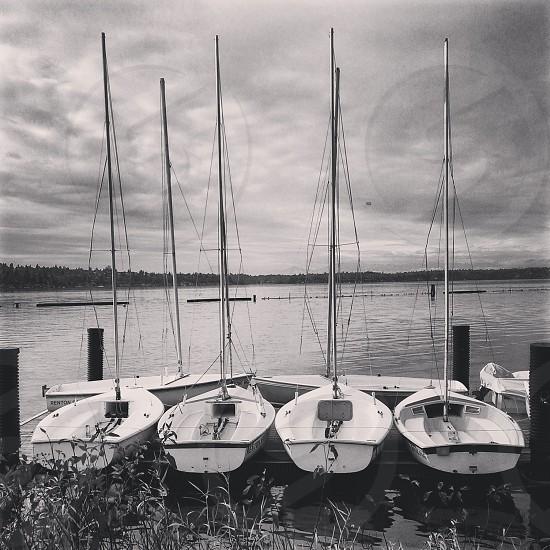 Boats Sailboats Lake Gene Coulon Park Black and White B&W photo