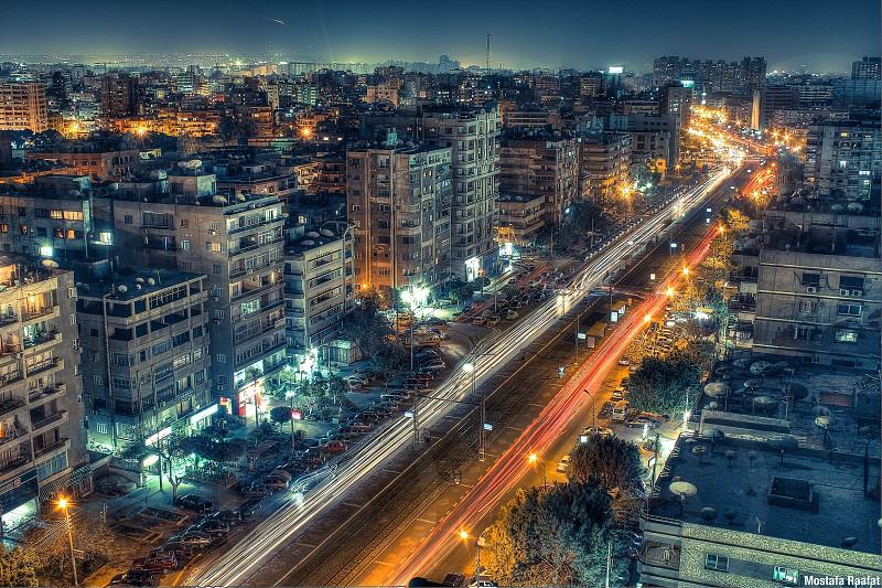 Cairo night lights long exposure streets cars  photo
