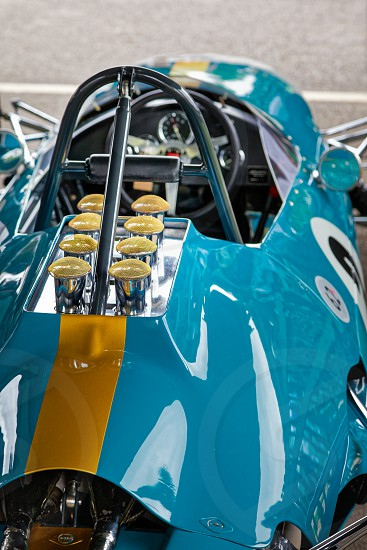 GOODWOOD WEST SUSSEX/UK - SEPTEMBER 14 : Partial view of a vintage racing car at Goodwood on September 14 2012 photo