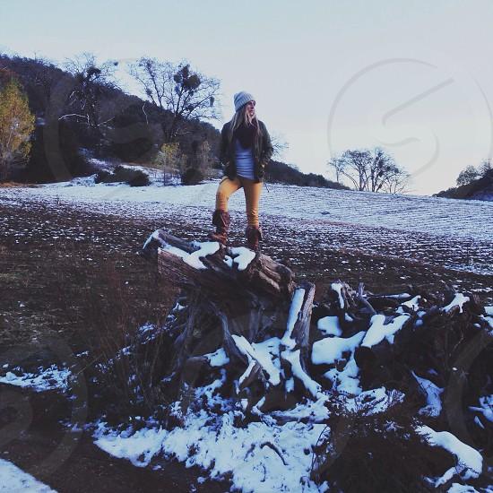 women's white beanie photo