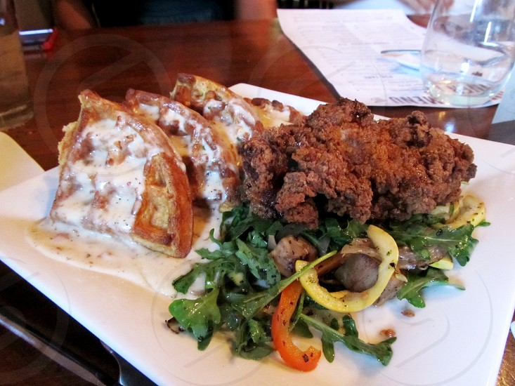 Bentonville AR dining fried chicken and gourmet waffles photo