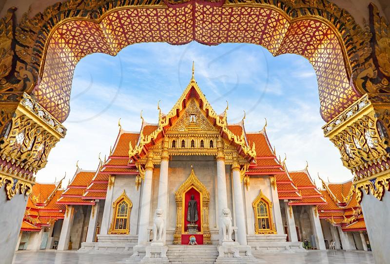 Thai Marble Temple (Wat Benchamabophit Dusitvanaram) with copy space in Bangkok Thailand photo