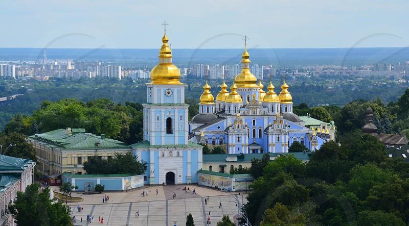 Kiev Ukraine cathedral orthodox blue Golden dome eastern europe Church photo