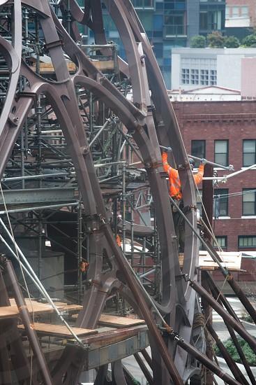 Construction worker urban safety metal photo
