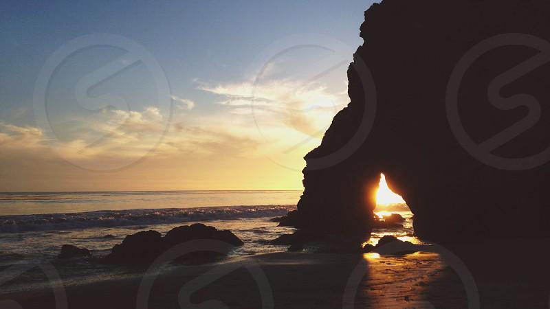 seashore photo with sunrise photo