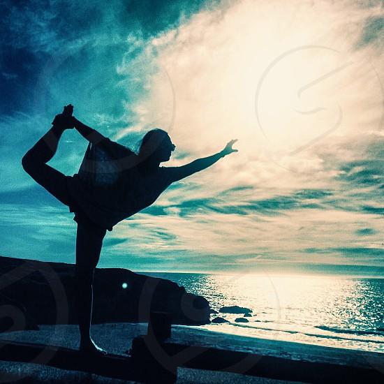 Yoga balance peaceful center calm ocean nature clarity Pacifica California  photo
