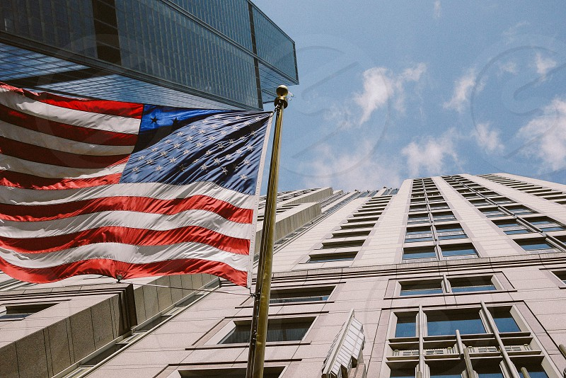 American flag and Willis Tower looking up. Chicago USA. photo