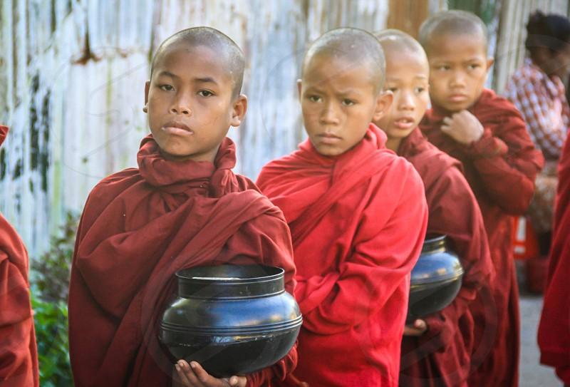 Myanmar travel morning golden rock youth monks religion Buddhist  photo