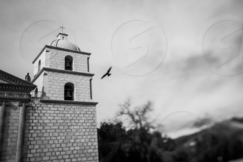 California Mission Santa Barbara taken with a Tilt-Shift Lens photo