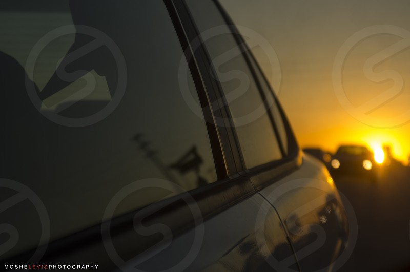 A sunset ride to Redlands California. Cars sunset travel orate yellow photo