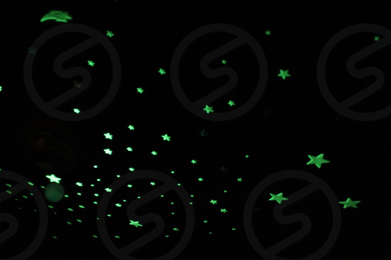 stars glow in the dark ceiling contrast green black photo