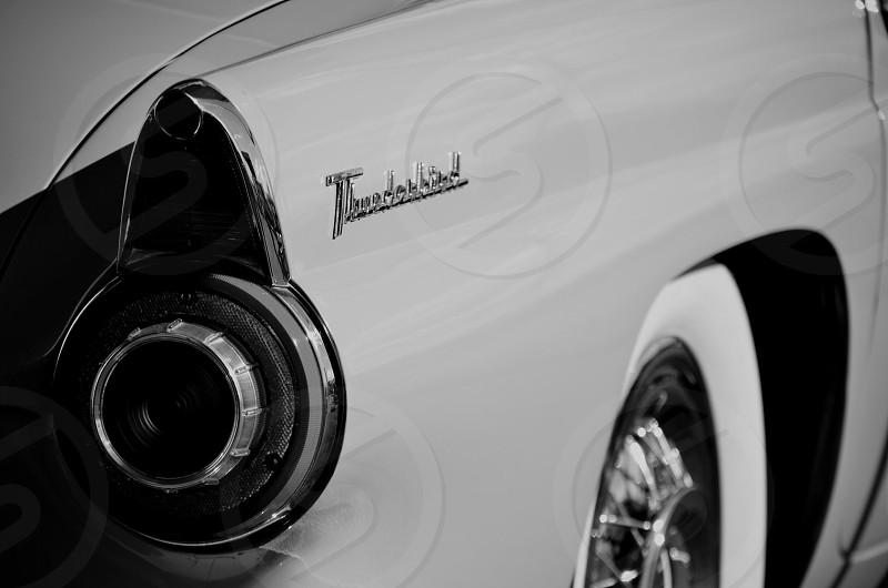 black and white image of ford thunderbird photo