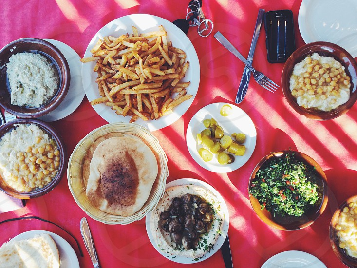 Typical israeli lunch. With all the fixins.  photo