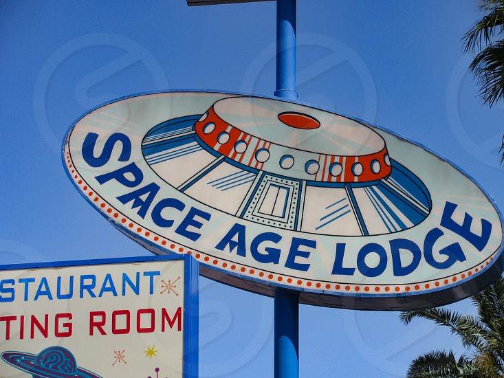 The outer space themed Space Age Lodge in Gila Bend Arizona built in 1965 has a flying saucer advertising sign. 401 E. Pima St. near Interstate 10. photo