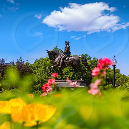 Boston Common George Washington monument at Massachusetts USA photo