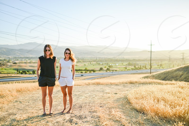 young adults women girls sun field  photo