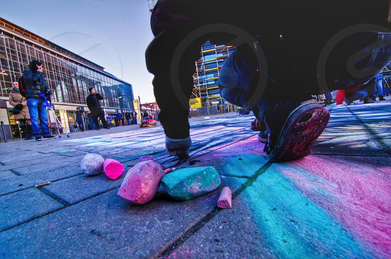 pink and blue chalk photo