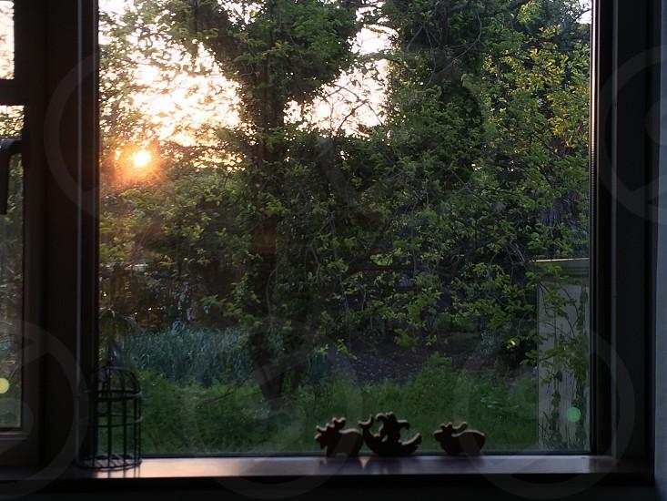 西の窓から見える夕日(The setting sun to see from a west window) photo