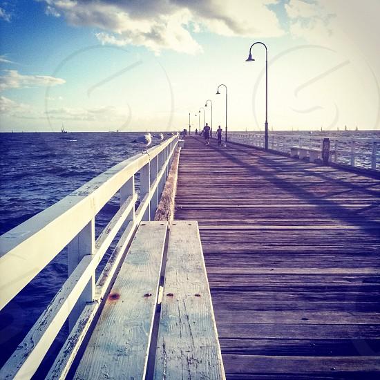 Pier jetty seaside beach sea wood photo