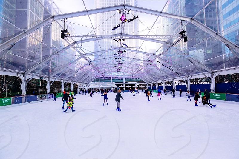 Ice skating rink at the Canary Wharf  photo