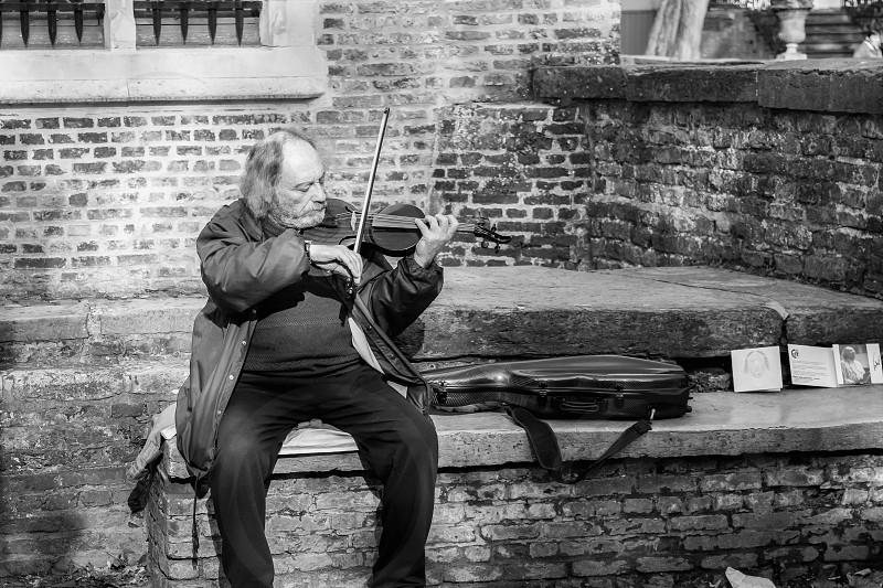 Old man plays violin photo