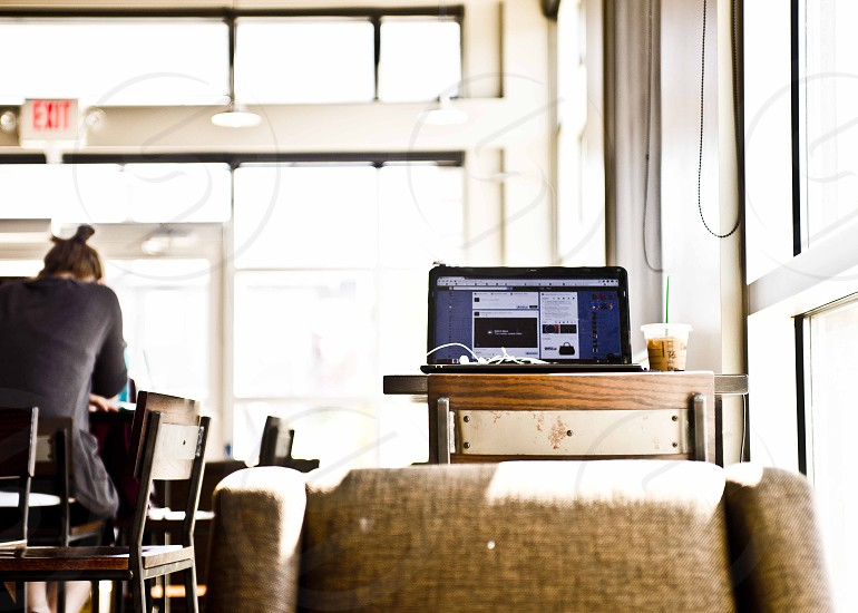 laptop coffee summer coffee shop electronics cafe social media chilling photo