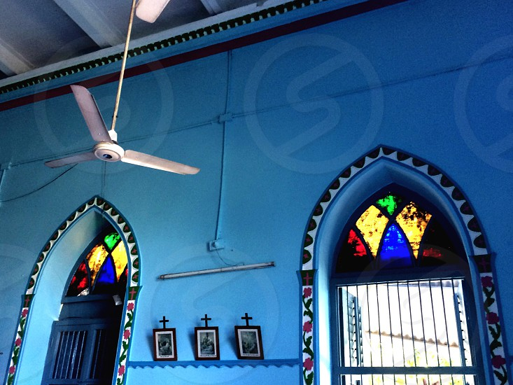 Blue blues colour windows building church architecture stained glass old building religion culture Asia eastern wall blue wall twin windows  photo
