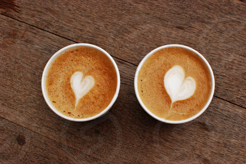 symmetry coffee latte hearts photo