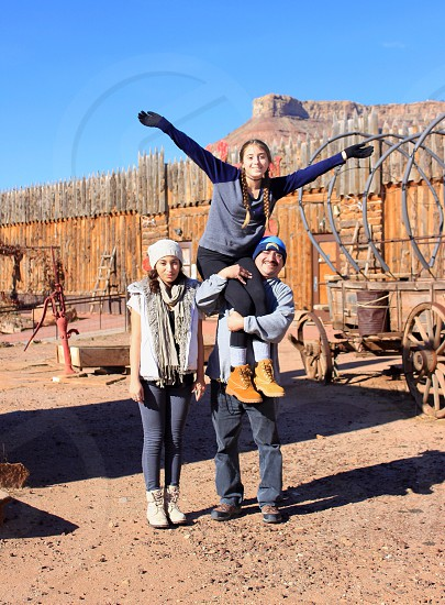 Family travel father dad daughter daughters portrait Zion national park Utah adventure together group cute happy photo
