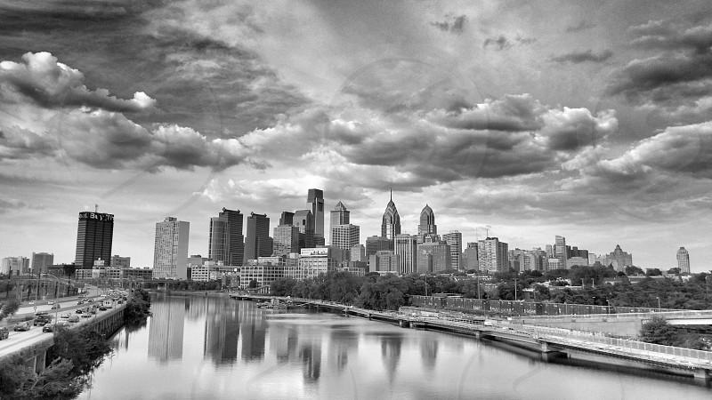 philadelphia city skyline black white photo