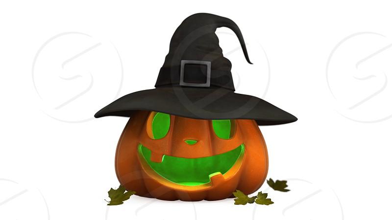 3D illustration of Halloween pumpkin photo