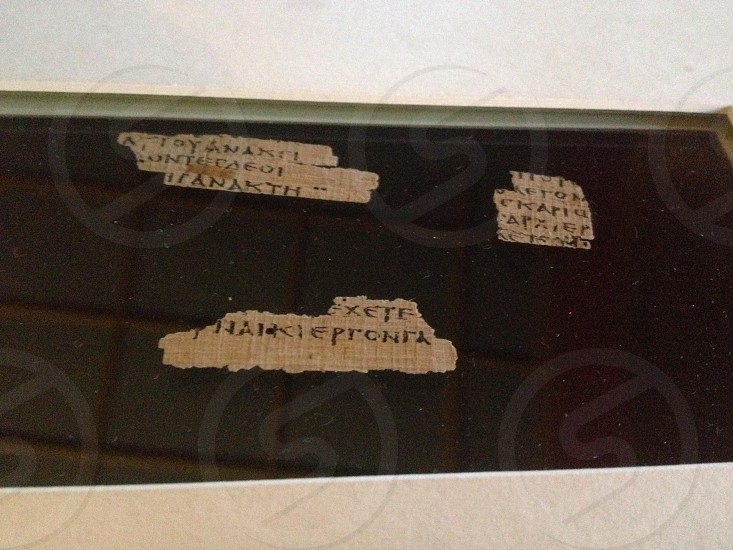 Manuscript of The earliest dates New Testament found. This is a small part of Matthews Gospel held in Oxford University  photo