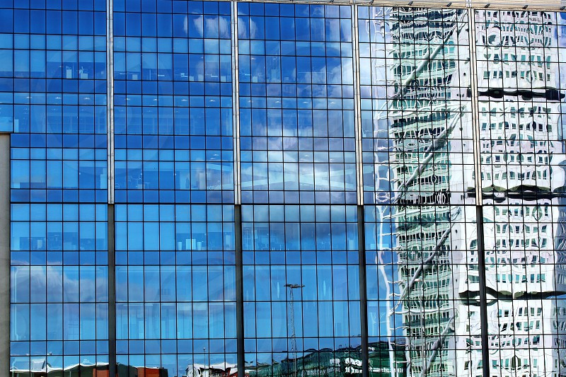 Transparent glass house office reflections photo