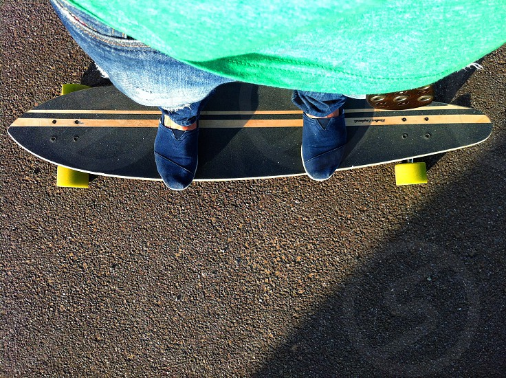 Longboarding point of view photo