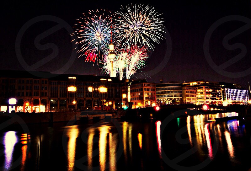 city panoramic on fireworks display view  photo