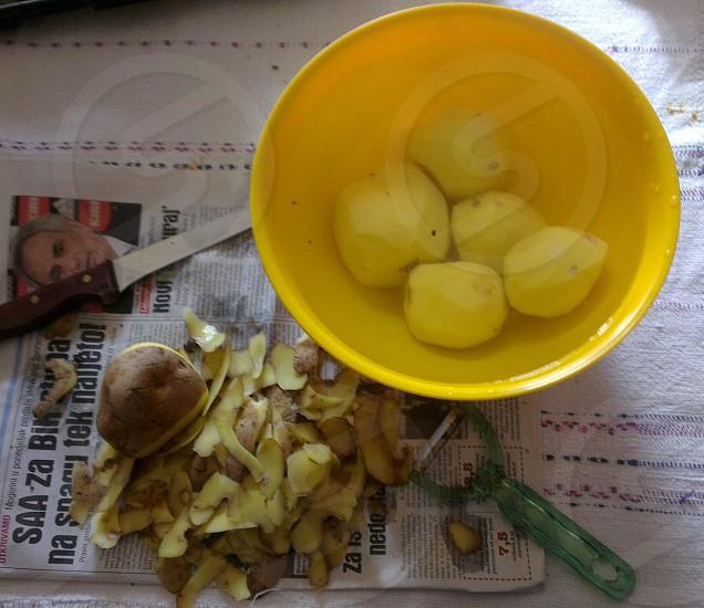 Preparing potatoes photo
