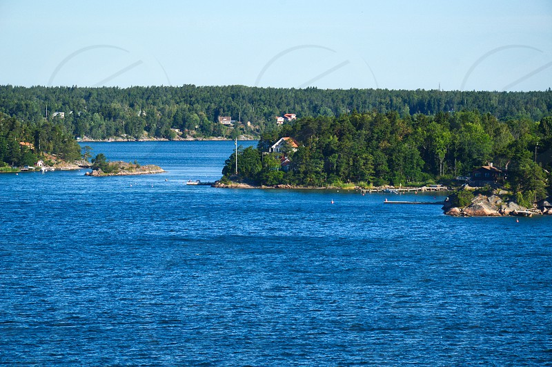 Swedish settlements on islets of Stockholm Archipelago in Baltic Sea Sweden photo