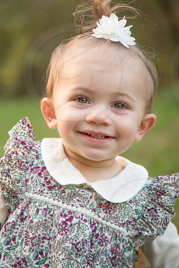 One Year Old Girl Portrait in the Fall photo
