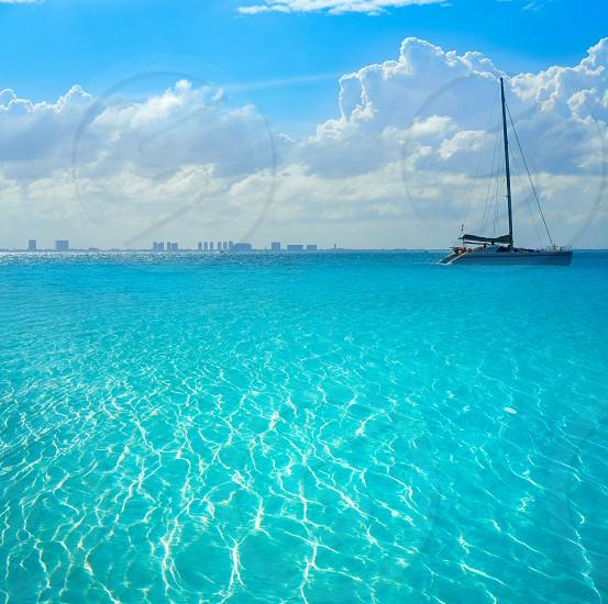 Cancun hotel zone from Isla Mujeres island Riviera Maya in Mexico photo