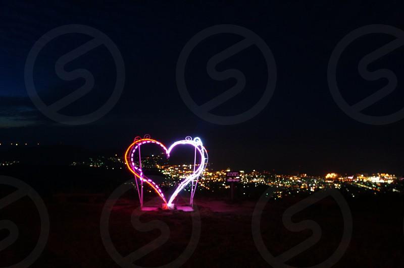 multicolored heart statue lighted decor photo