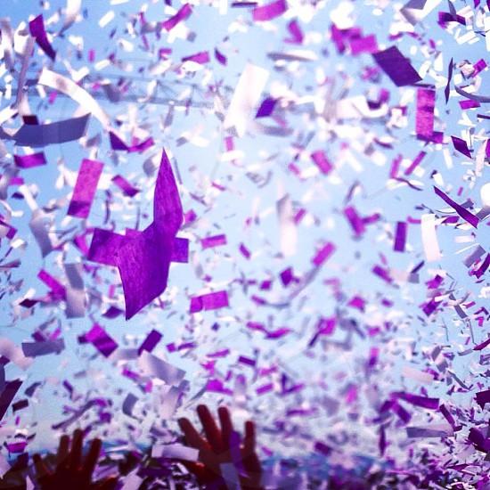 Confetti start line running sky hands abstract light  photo