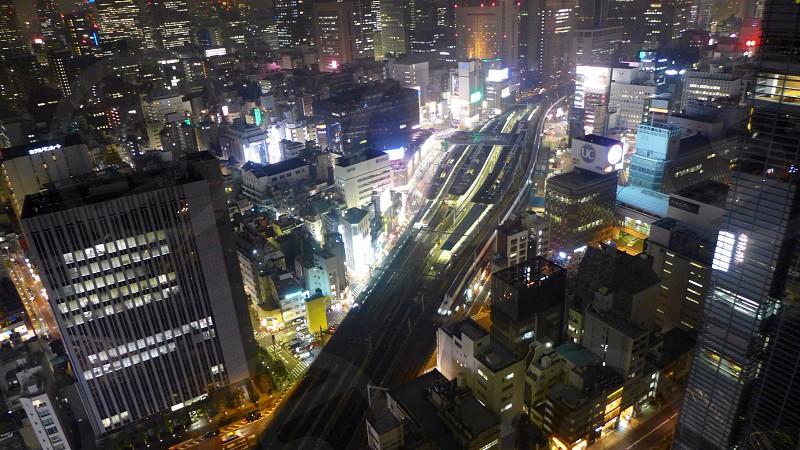 skyline of a city at night photo
