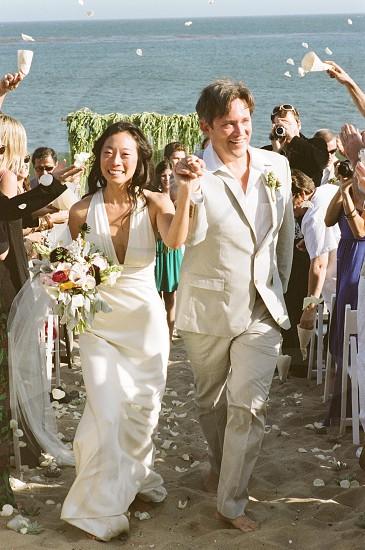 Wedding beach Malibu California coast destination wedding bride groom bliss  photo