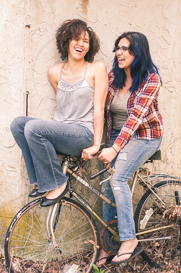 two women on bicycle photo