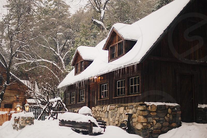Cabin snow winter camp snowy Blizzard retreat fun adventure travel photo