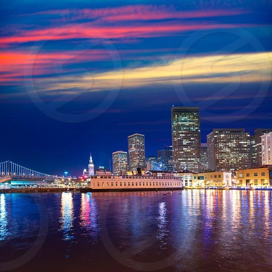 San Francisco sunset skykine from Pier 7 in California USA photo