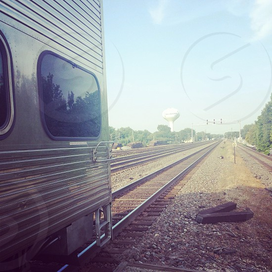 Train sunset railways hopeless endless  photo