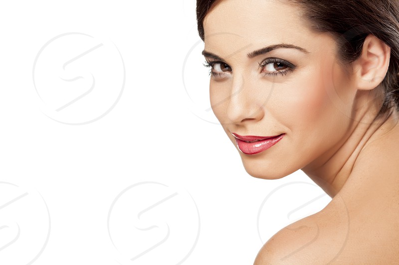 Sensual portrait of beautiful woman on white background photo