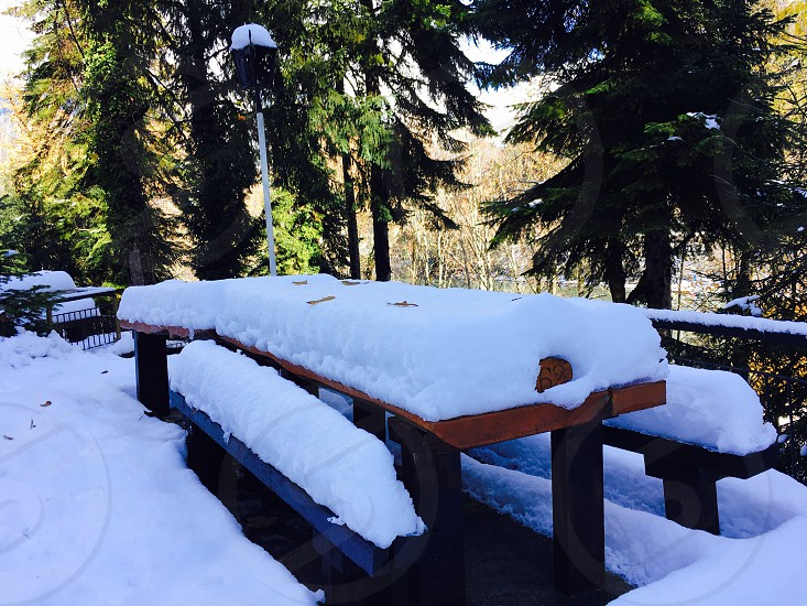 photo of brown wooden picnic table covered in snow photo